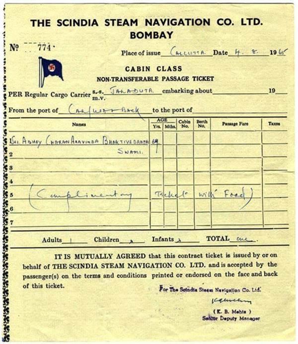 Srila Prabhupada's Jaladuta Ticket