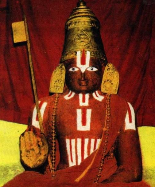 Vaishnava guru Ramanuja's original body mummified & preserved inside Sri Ranganathaswamy Temple, Srirangam since 1137 CE with Sandalwood & Camphor coatings